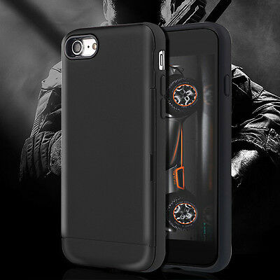 AU11.87 • Buy Black Military Grade Hybrid With Slide Card Holder Case Cover  IPhone 6 6S Plus