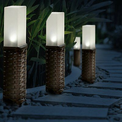 Rattan Style Solar Powered Motion Ground Post Path Stake Lights Garden Patio UK • 11.49£