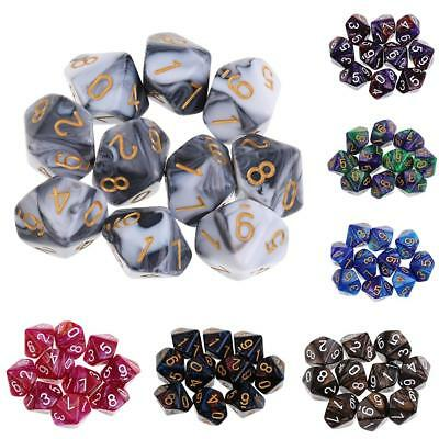 AU9.98 • Buy 10PCS D10 Polyhedral Game Dice For RPG  Party Games