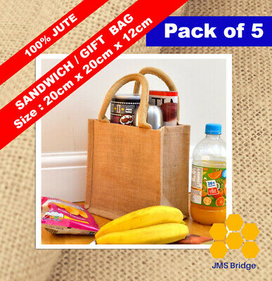 £9.99 • Buy 5 X Jute Hessian Mini Bag With Natural Colour Cotton Corded Handles