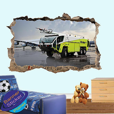 £14.99 • Buy Fire Engine On Airport Poster Wall Sticker 3d Art Room Decor Decal Mural Zv4