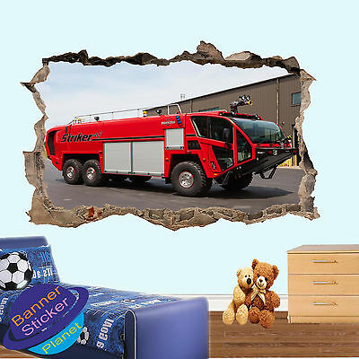 £14.99 • Buy Red Fire Engine Station Wall Sticker 3d Poster Art Room Decor Decal Mural Zv5
