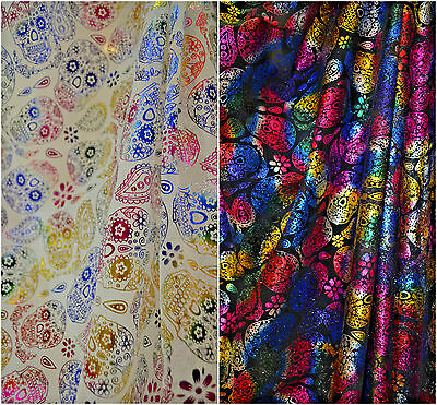 £4.99 • Buy Mexican Day Of The Dead, Sugar Candy Skulls Metallic Net Fabric 150cm Wide