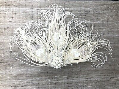 Cream Ivory Pearl Feather Fascinator Hair Clip Bride Bridal Races Party Wedding • 20.99£