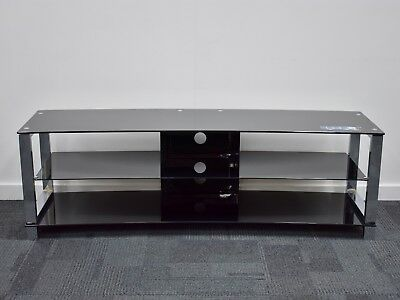 AU129 • Buy TV Stand Entertainment Unit 1600MM Glass Steel Plasma LCD LED Black Curved