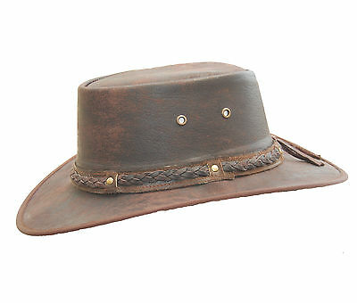 £19.95 • Buy Real Distressed Leather Foldaway Crushable Australian-Style Bush Hat Brown