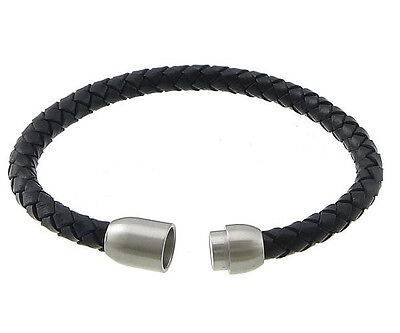 Mens 6 Or 8mm Leather Wristband Bracelet With Stainless Steel Magnetic Clasp • 2.99£