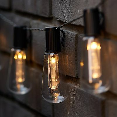LED Solar Powered Vintage Edison Bulb String Lights Garden Outdoor Fairy Summer • 12.95£