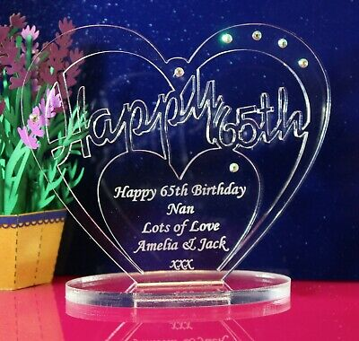 Personalised 65th Birthday  Heart Gift With Message -  Free Standing Keepsake • 5.95£