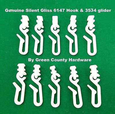 £9.89 • Buy 20 X Silent Gliss 6146 Hook & 3534 Glider FOR Use With Shower Curtains FREEPOST