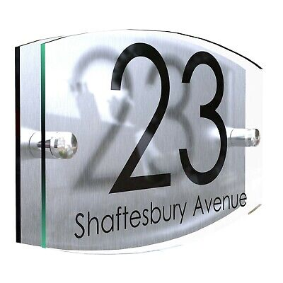 Contemporary House Sign Plaque Door Number 1 - 999 Personalised Name Plate • 8.65£