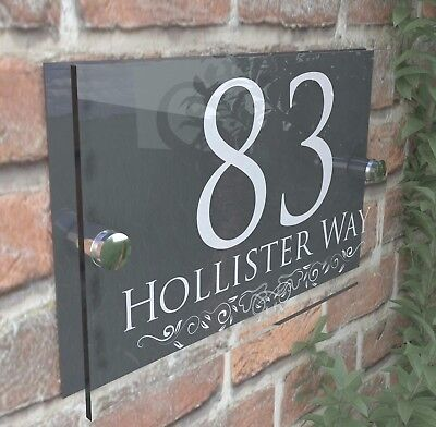 Decorative House Signs Plaques Door Numbers 1 - 999 Personalised Name Plate • 9.45£