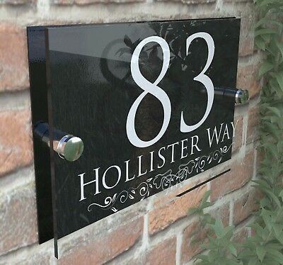 Personalised House Sign Door Numbers Street Address Plaques Modern Glass  • 8.99£