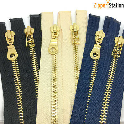 No8 Heavy Duty Polished Gold Teeth Zip - Open End Zipper With Three Puller Style • 7.95£