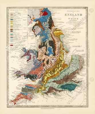 £15.70 • Buy Antique Geological Map England Wales R Murchison 1842 British Geology Art Poster