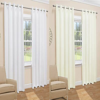Pair Of Ready Made Lined Voile Eyelet Ring Top Curtains. Cream Or White • 18£