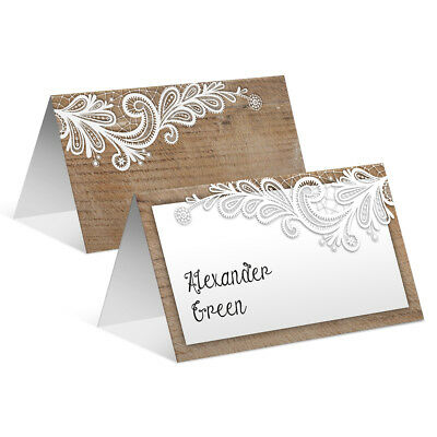 Wedding Place Name Table Cards - Rustic Wood With Lace Pattern And Your Names • 19£
