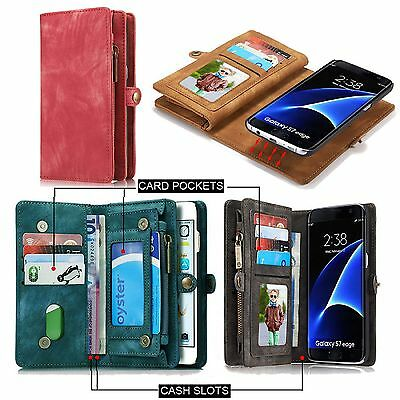 AU30.99 • Buy Samsung Galaxy S8/S8 Plus Leather Case Removable Wallet Card Magnetic Flip Cover