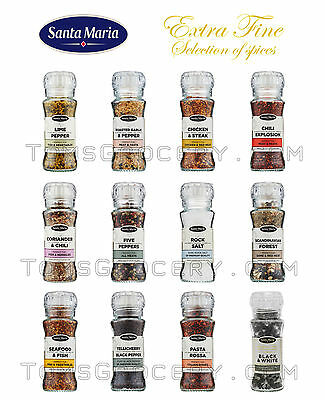 £15.40 • Buy SANTA MARIA Grinders - Extra Fine Cooking Spices & Herbs Selection Premium Jars