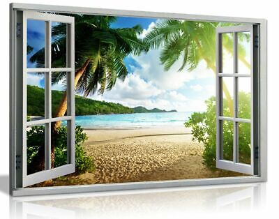 £34.99 • Buy Beach Sunset View 3D Window Effect Canvas Wall Art Picture Print
