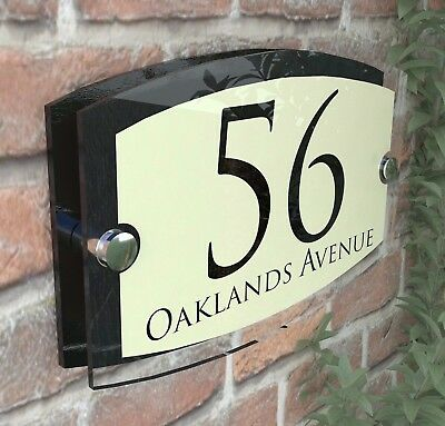 Classic Cream House Signs Plaques Door Numbers 1 - 999 Personalised Name Plate • 9.99£