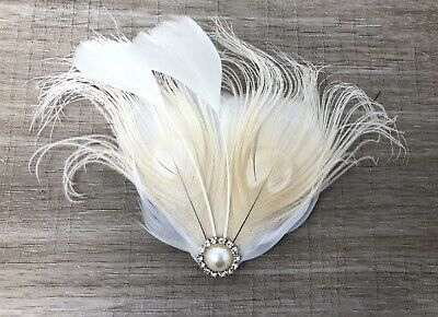 Cream Ivory Pearl Feather Fascinator Hair Clip Bride Bridal Races Party Wedding • 19.99£