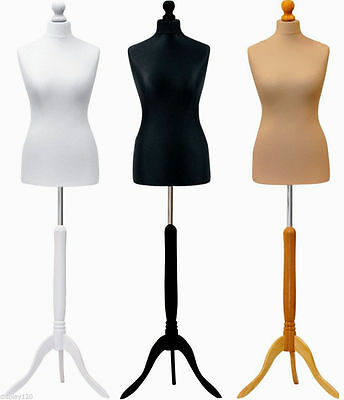 £32.99 • Buy Size 10-12 White Cream Black Female Dressmakers Sewing Dummy Display Mannequin