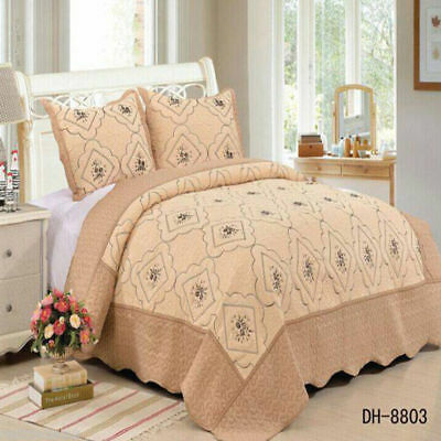 £32.97 • Buy Soft Quilted Poly Cotton Throw Bedspread Quilt Bedding Double King Size DH-8803