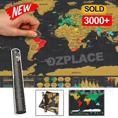 AU13.95 • Buy Deluxe Large Scratch Off World Map Personalized Travel Poster Travel Atlas Decor