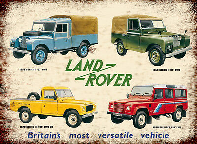 Land Rover Over The Ages Advertising Retro Vintage Metal Sign • 5£