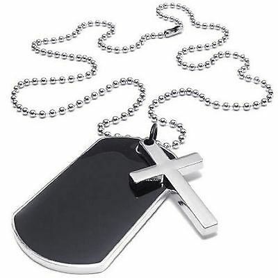 Black Military Cross Markers Army Style Dog Tag 22 Inch Ball Chain Necklace UK • 4.10£