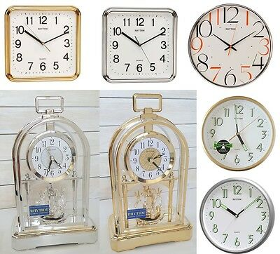 Rhythm Contemporary Square Round Clock - Mantle Piece And Wall Clock • 21.90£