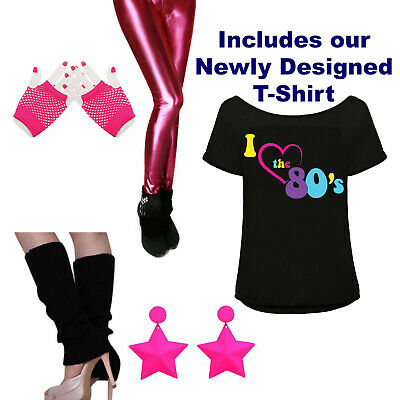 AU49.99 • Buy 80s Womens Fancy Dress Costume, 80s T Shirt, 80s Leggings, 1980s Earrings, Girls