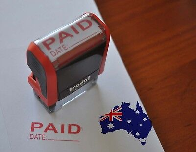 AU15.95 • Buy Brand New Paid Date Stamp - Self Inking Rubber Stamp Red Ink 37mm*13mm
