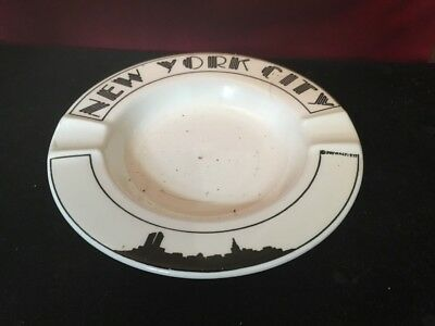 New York City Art Deco Ashtray Black And White With Silhouette Skyline • 18£