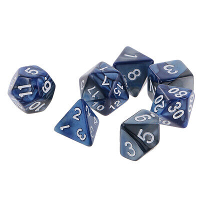 AU9.75 • Buy 7 X Polyhedral Dice Set For  D10 D8 D6 D4 Blue Silver