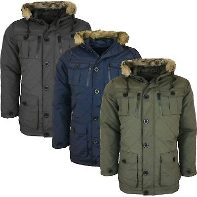 £29.99 • Buy Mens  Parka Parker Padded Lined Winter Jacket Faux Fur Hooded Coat New S-xl