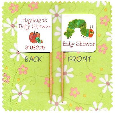 20 PERSONALISED BABY SHOWER THE HUNGRY CATERPILLAR CUP CAKE FLAG Party Topper  • 2.99£