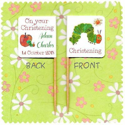 20 PERSONALISED CHRISTENING CUP CAKE FLAG THE HUNGRY CATERPILLAR Baptism Topper  • 2.99£