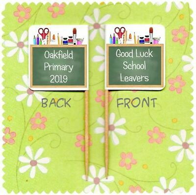 £3.25 • Buy 20 PERSONALISED GOOD LUCK SCHOOL LEAVERS CUP CAKE FLAG Pick Topper Decoration