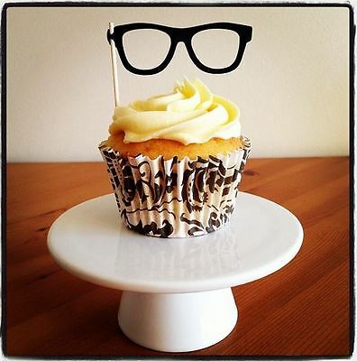 £3.49 • Buy 12 GEEK CHIC GLASSES CUP CAKE FLAG Food Topper Decoration Wedding Hen Specs Pick