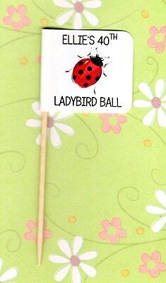 20 PERSONALISED LADYBIRD CUP CAKE FLAG Party Pick Topper Birthday Decoration • 3.25£