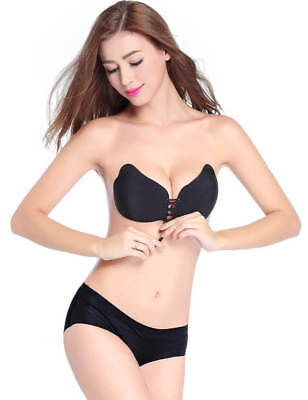 Bra Push Up Black Bra Invisible Gel With Adhesive Bra Without Straps • 16.20£