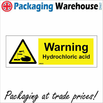 £23.36 • Buy Ws035 Warning Hydrochloric Acid Danger To Health Handle With Care Burn Sign