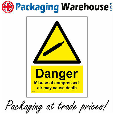 Ws045 Danger Misuse Of Compressed Air May Cause Death Sign Risk Of Injury Safety • 2.95£