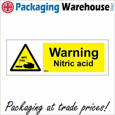 Ws037 Warning Nitric Acid Danger To Health Handle With Care Burn Scald Sign • 9.98£
