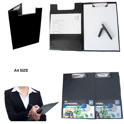 A4 Black Clipboard Solid Fold-Over New Office Document Holder Filing Clip Board • 2.49£