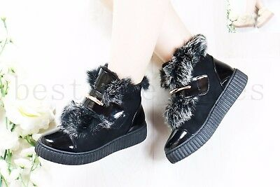 £7.99 • Buy Ladies Womens Ankle Boots Flat Chunky Platform Fur Lined Trainners Shoes Size