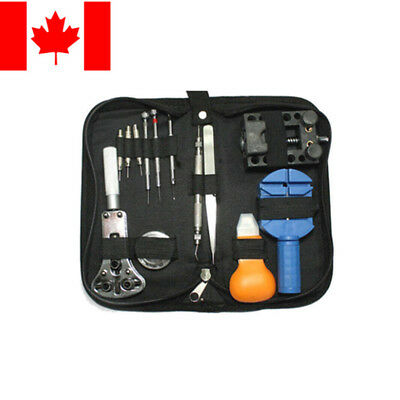 $ CDN16.99 • Buy 13pcs Watch Repair Tool Kit Opener Link Remover Spring Bar Hammer + Back Case