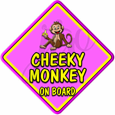 £3.99 • Buy Personalised Pink For Girl  HIP CHEEKY MONKEY   Baby On Board Car Window Sign